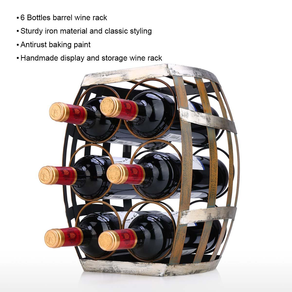 Tooarts 6 Bottles Wine Rack Tabletop Barrel Wine Rack Sturdy Home Decor V3f8 Ebay