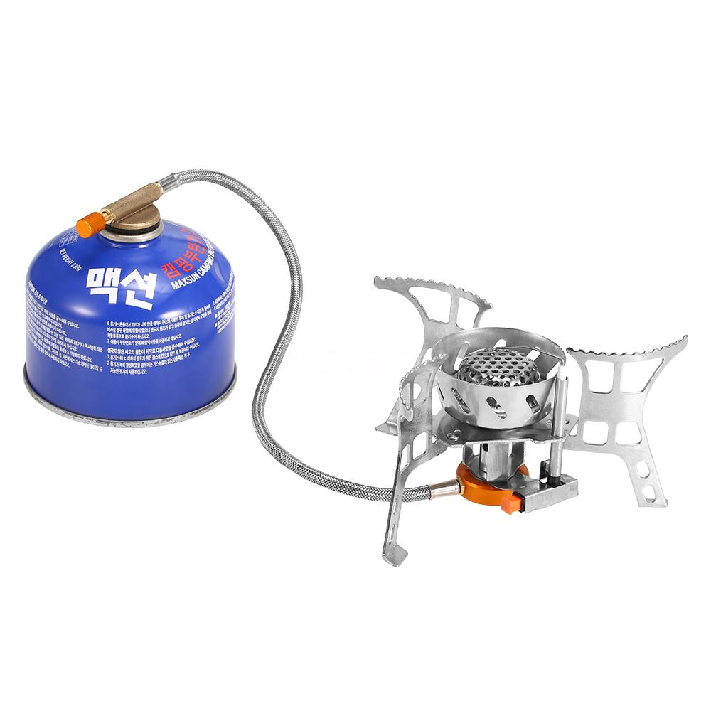 Windproof Gas Stove Foldable Split Burner with Gas Conversion Head Adapter UK